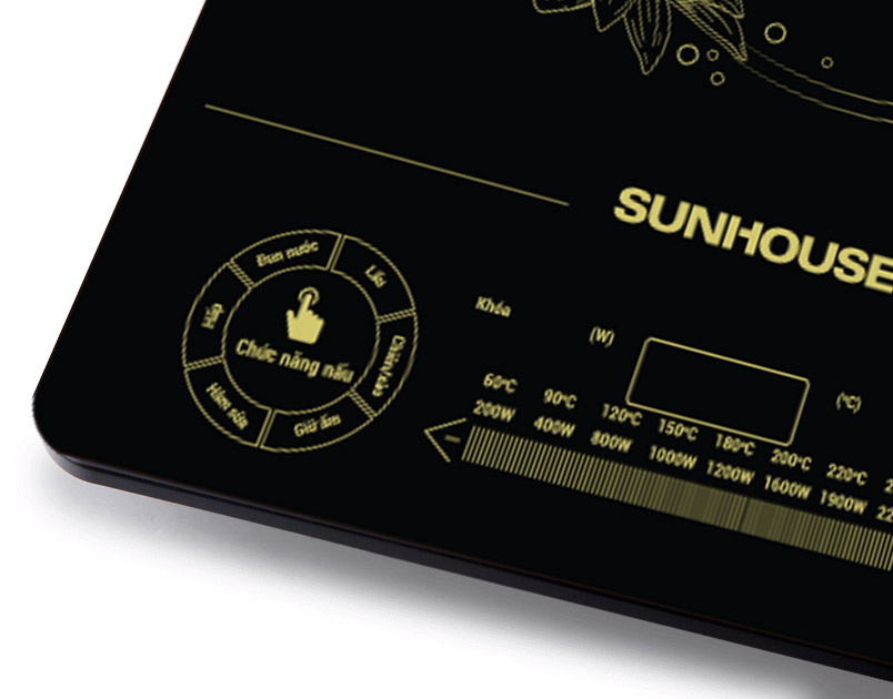 Bếp từ Sunhouse SHD6865 với nhiều chức năng đặt sẵn