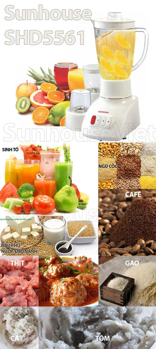 Máy xay sinh tố 3 cối Sunhouse SHD5561
