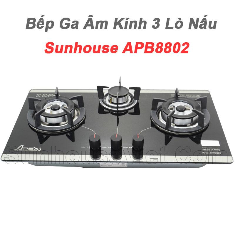 bep ga am kinh cao cap sunhouse apb8802 3 lo nau