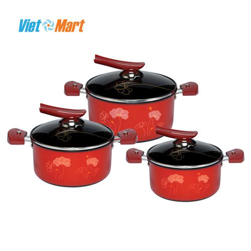 Bộ nồi anod Sunhouse SHG1131 nhập khẩu hàn quốc dùng được bếp từ