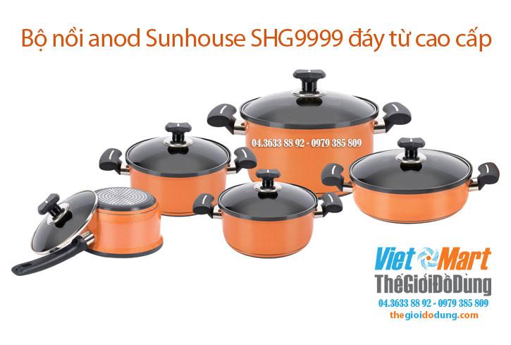 Bộ nồi Anod sunhouse shg999 5 chiếc dùng được bếp từ
