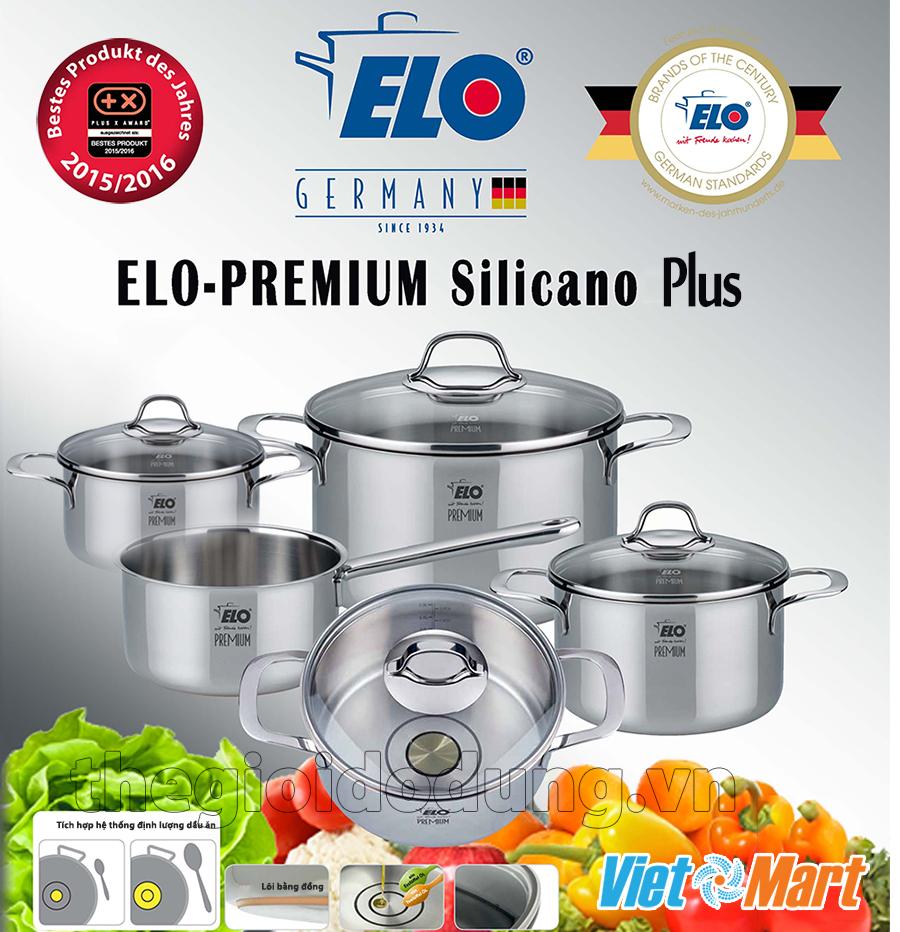 Bộ nồi đáy đồng ELo Silicano Plus có định lượng dầu ăn