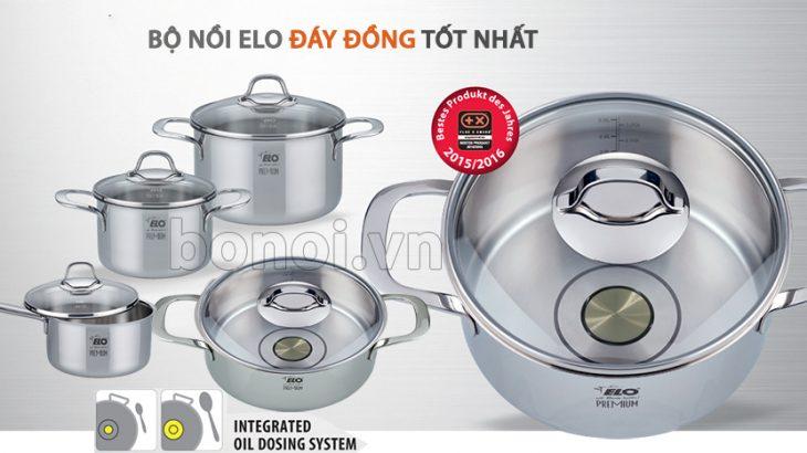 Bộ nồi đáy đồng nấu bếp từ ELO có 2 vòng đo định lượng dầu ăn cho người ăn kiêng